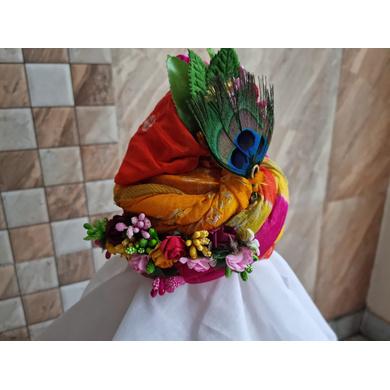 S H A H I T A J Traditional Rajasthani Silk Krishna or Ganpati Bhagwan Pagdi Safa or Turban for God's Idol/Kids/Adults (RT866)-For Miniature God's Idol (3 inches to 16 inches)-4