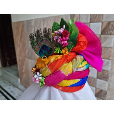 S H A H I T A J Traditional Rajasthani Silk Krishna or Ganpati Bhagwan Pagdi Safa or Turban for God's Idol/Kids/Adults (RT866)-For Miniature God's Idol (3 inches to 16 inches)-3