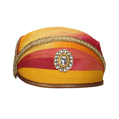 S H A H I T A J Traditional Rajasthani Cotton Mewadi Shaded Pagdi or Turban for Kids and Adults (MT871)-ST991_18andHalf
