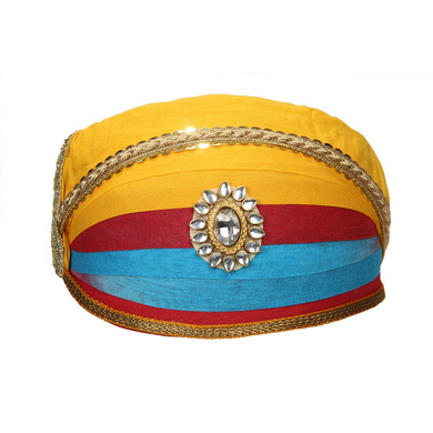S H A H I T A J Traditional Rajasthani Cotton Mewadi Shaded Pagdi or Turban for Kids and Adults (MT872)-ST992_18andHalf