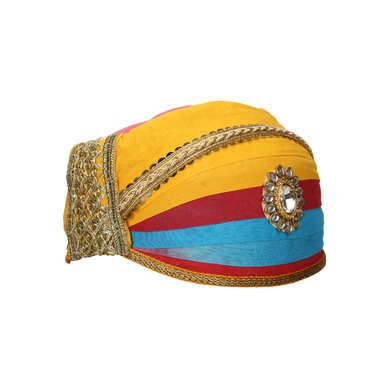 S H A H I T A J Traditional Rajasthani Cotton Mewadi Shaded Pagdi or Turban for Kids and Adults (MT872)-18-3
