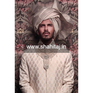 S H A H I T A J Wedding Groom/Dulha Golden Silk Pakistani Muslim Imaama Pagdi Safa or Turban for Kids and Adults (RT877)-ST997_20andHalf