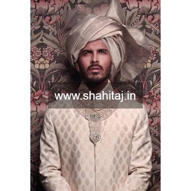 S H A H I T A J Wedding Groom/Dulha Golden Silk Pakistani Muslim Imaama Pagdi Safa or Turban for Kids and Adults (RT877)-ST997_23andHalf