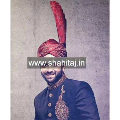S H A H I T A J Wedding Groom/Dulha Maroon Brocade Pakistani Muslim Kulla/Imaama/Pagdi Safa or Turban for Kids and Adults (RT878)-ST998_23andHalf
