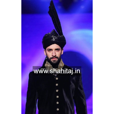 S H A H I T A J Wedding Groom/Dulha Black Silk Pakistani Muslim Kulla/Imaama/Pagdi Safa or Turban for Kids and Adults (RT879)-ST999_18andHalf