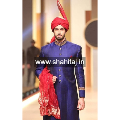 S H A H I T A J Wedding Groom/Dulha Red Silk Pakistani Muslim Kulla/Imaama/Pagdi Safa or Turban for Kids and Adults (RT880)-ST1000_19andHalf