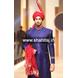 S H A H I T A J Wedding Groom/Dulha Red Silk Pakistani Muslim Kulla/Imaama/Pagdi Safa or Turban for Kids and Adults (RT880)-ST1000_21andHalf-sm