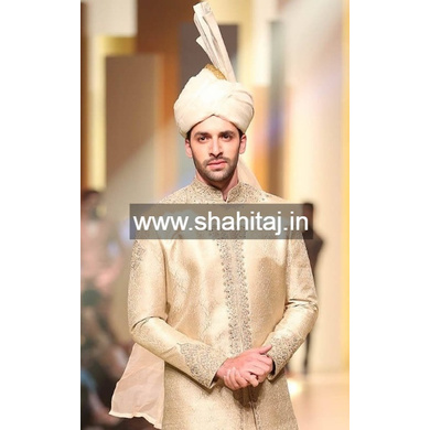 S H A H I T A J Wedding Groom/Dulha Silver Silk Pakistani Muslim Kulla/Imaama/Pagdi Safa or Turban for Kids and Adults (RT881)-ST1001_21andHalf