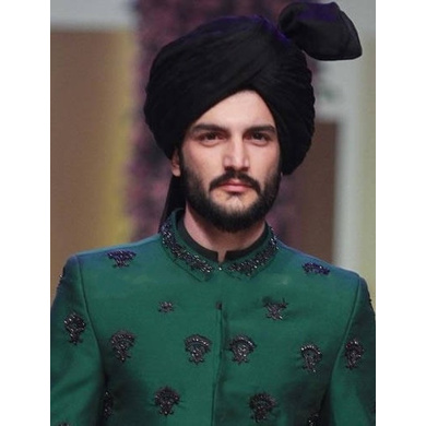 S H A H I T A J Wedding Groom/Dulha Black Silk Pakistani Muslim Kulla/Imaama/Pagdi Safa or Turban for Kids and Adults (RT882)-ST1002_19andHalf