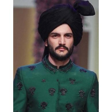S H A H I T A J Wedding Groom/Dulha Black Silk Pakistani Muslim Kulla/Imaama/Pagdi Safa or Turban for Kids and Adults (RT882)-ST1002_20andHalf