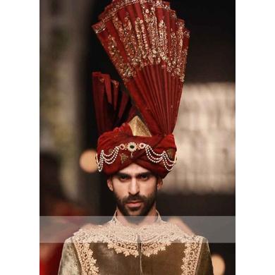 S H A H I T A J Wedding Groom/Dulha Maroon Velvet Pakistani Muslim Kulla/Imaama/Pagdi Safa or Turban for Kids and Adults (RT883)-ST1003_23andHalf