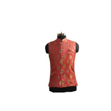 S H A H I T A J Traditional Barati/Groom/Social Occasions Silk with Golden Print Pink Nehru Jacket or Kothi for Adults (MW884)-ST1004_38