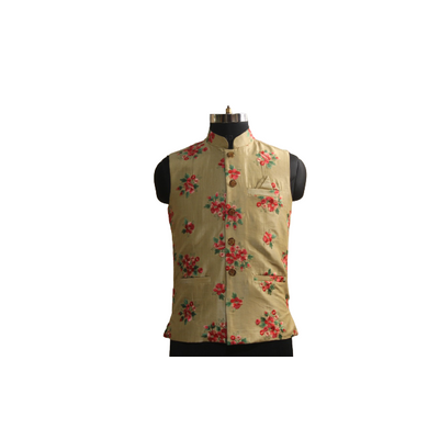 S H A H I T A J Traditional Barati/Groom/Social Occasions Silk Golden with Red Floral Nehru Jacket or Kothi for Adults (MW885)-ST1005_36