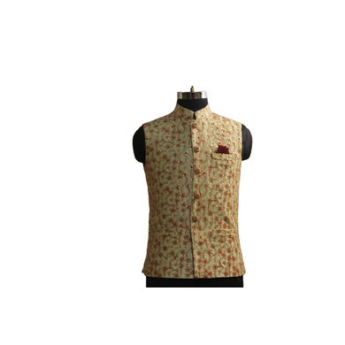 S H A H I T A J Traditional Barati/Groom/Social Occasions Silk Golden with Red Print Nehru Jacket or Kothi for Adults (MW886)-ST1006_36