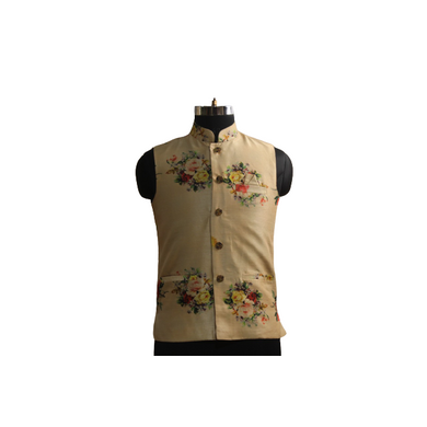 S H A H I T A J Traditional Barati/Groom/Social Occasions Silk Golden Floral Nehru Jacket or Kothi for Adults (MW888)-ST1008_42