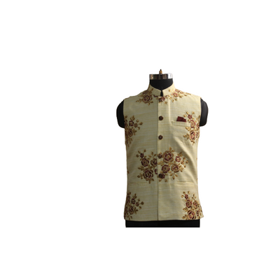S H A H I T A J Traditional Barati/Groom/Social Occasions Silk Golden Floral Nehru Jacket or Kothi for Adults (MW889)-ST1009_44