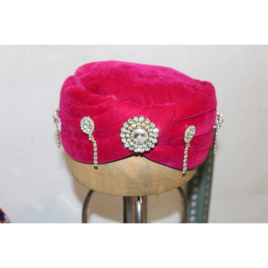 S H A H I T A J Muslim Wedding Groom/Dulha Velvet Pink Imaama Pagdi Safa or Turban for Kids and Adults (RT895)-ST1015_19andHalf