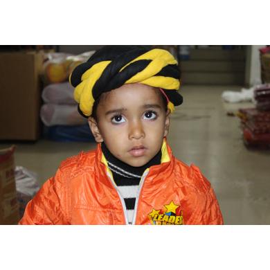 S H A H I T A J Muslim Silk Vantma or Barmeri Yellow & Black Imaama Pagdi Safa or Turban for Kids and Adults (RT896)-ST1016_23andHalf