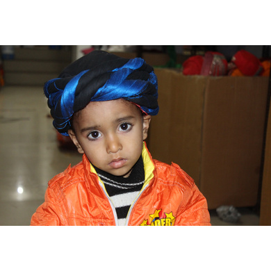 S H A H I T A J Muslim Silk Vantma or Barmeri Blue & Black Imaama Pagdi Safa or Turban for Kids and Adults (RT897)-ST1017_21andHalf