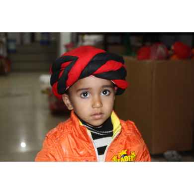 S H A H I T A J Muslim Silk Vantma or Barmeri Black & Red Imaama Pagdi Safa or Turban for Kids and Adults (RT898)-ST1018_23andHalf