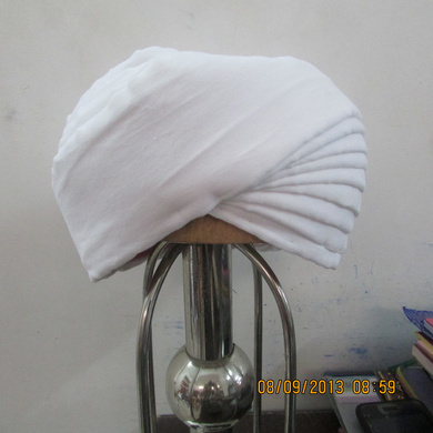 S H A H I T A J Pakistani Imaama Muslim Weddings or Social Occasions White Cotton Pagdi Safa or Turban for Kids and Adults (RT900)-ST1020_18andHalf