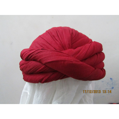 S H A H I T A J Muslim Vantma or Barmeri Social Occasions Red Cotton Pagdi Safa Imaama or Turban for Kids and Adults (RT902)-ST1022_22andHalf