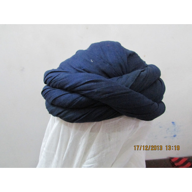 S H A H I T A J Muslim Vantma or Barmeri Social Occasions Blue Cotton Pagdi Safa Imaama or Turban for Kids and Adults (RT903)-ST1023_18andHalf