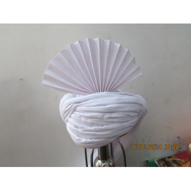 S H A H I T A J Pakistani Kulla Muslim Weddings or Social Occasions White Cotton Pagdi Safa or Turban for Kids and Adults (RT904)-18-3