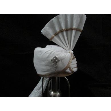 S H A H I T A J Wedding Groom/Dulha White Cotton Pakistani Muslim Kulla/Imaama/Pagdi Safa or Turban for Kids and Adults (RT905)-18-3
