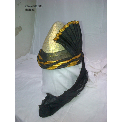 S H A H I T A J Pakistani Kulla Muslim Weddings or Social Occasions Black & Golden Cotton Pagdi Safa or Turban for Kids and Adults (RT906)-ST1026_23andHalf