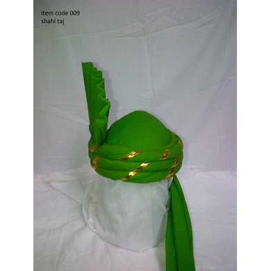 S H A H I T A J Pakistani Kulla Muslim Weddings and Social Occasions Green Cotton Pagdi Safa or Turban for Kids and Adults (RT907)-ST1027_23andHalf