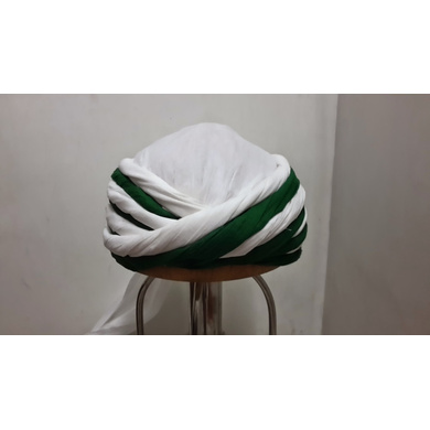 S H A H I T A J Muslim Vantma or Barmeri Social Occasions Green & White Cotton Pagdi Safa Imaama or Turban for Kids and Adults (RT911)-ST1031_22andHalf
