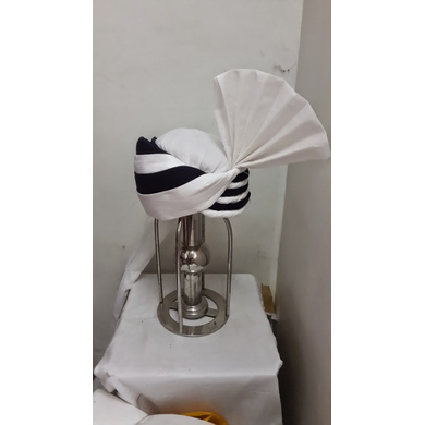 S H A H I T A J Pakistani Muslim Wedding or Social Occasions Black & White Kulla Pagdi Safa or Turban for Kids and Adults (RT913)-ST1033_23