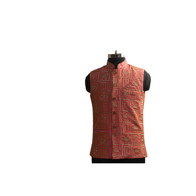 S H A H I T A J Traditional Barati/Groom/Social Occasions Silk Pink Embroidery Nehru Jacket or Kothi for Adults (MW914)-ST1034_38