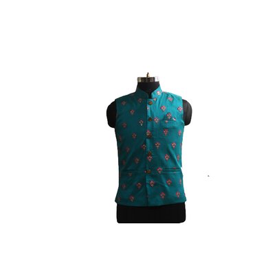 S H A H I T A J Traditional Barati/Groom/Social Occasions Silk Turquoise Floral Nehru Jacket or Kothi for Adults (MW916)-ST1036_40