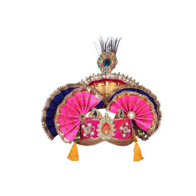 S H A H I T A J Traditional Krishna or Ganpati Bhagwan Satin Pagdi Safa or Turban for God's Idol/Kids/Adults (RT920)-ST1040_Adults