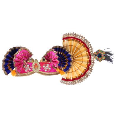 S H A H I T A J Traditional Krishna or Ganpati Bhagwan Satin Pagdi Safa or Turban for God's Idol/Kids/Adults (RT920)-For Kids (17 inches to 21 inches)-4