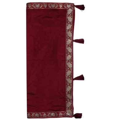 S H A H I T A J Traditional Rajasthani Wedding Maroon Silk Stall/Dupatta/Shawl for Groom or Dulha (DS553)-Free Size-1