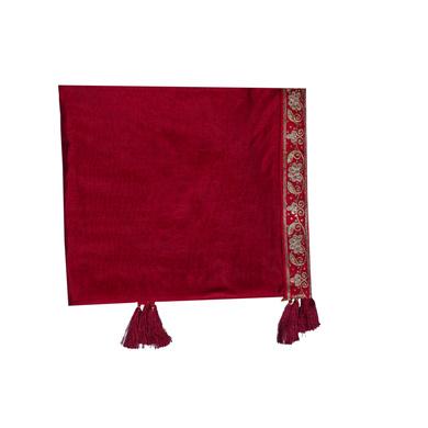 S H A H I T A J Traditional Rajasthani Wedding Maroon Silk Stall/Dupatta/Shawl for Groom or Dulha (DS553)-ST676