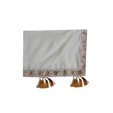 S H A H I T A J Traditional Rajasthani Wedding Silver Silk Stole/Dupatta/Shawl for Groom or Dulha (DS921)-ST1041