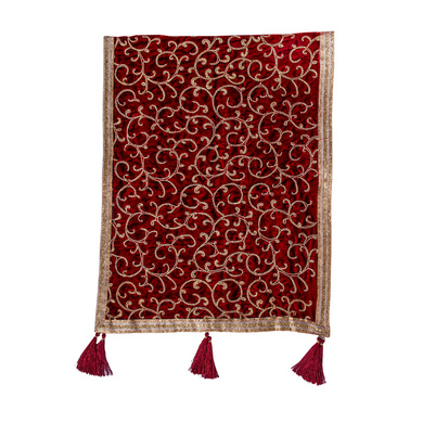 S H A H I T A J Traditional Rajasthani Wedding Maroon & Golden Velvet Stole/Dupatta/Shawl for Groom or Dulha (DS925)-ST1045