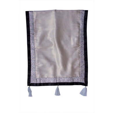 S H A H I T A J Traditional Rajasthani Wedding Silver Silk Stole/Dupatta/Shawl for Groom or Dulha (DS926)-ST1046
