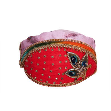 S H A H I T A J Traditional Rajasthani Multi-Colored Cotton & Silk Mewadi Krishna Bhagwan Pagdi or Turban for God's Idol/Kids/Adults (MT927)-ST1047_Adults