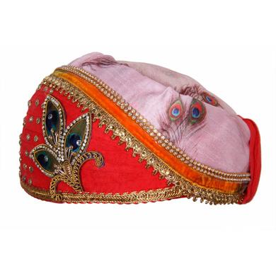 S H A H I T A J Traditional Rajasthani Multi-Colored Cotton & Silk Mewadi Krishna Bhagwan Pagdi or Turban for God's Idol/Kids/Adults (MT927)-For Miniature God's Idol (3 inches to 16 inches)-3