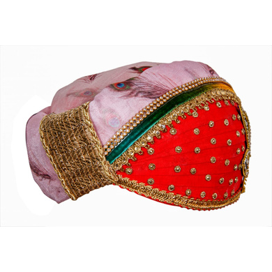 S H A H I T A J Traditional Rajasthani Multi-Colored Cotton & Silk Mewadi Krishna Bhagwan Pagdi or Turban for God's Idol/Kids/Adults (MT927)-For Miniature God's Idol (3 inches to 16 inches)-4