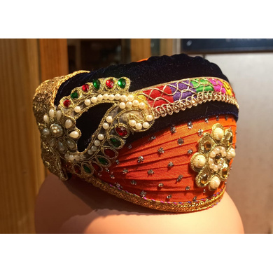 S H A H I T A J Traditional Rajasthani Cotton & Velvet Mewadi Barati Multi-Colored Pagdi or Turban for Kids and Adults (MT928)-18-3
