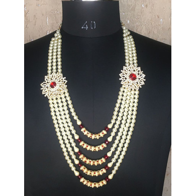 S H A H I T A J Designer White Mala/Kanthla with Double Brooch for Weddings/Groom Dress or Sherwani (OS931)-ST1051