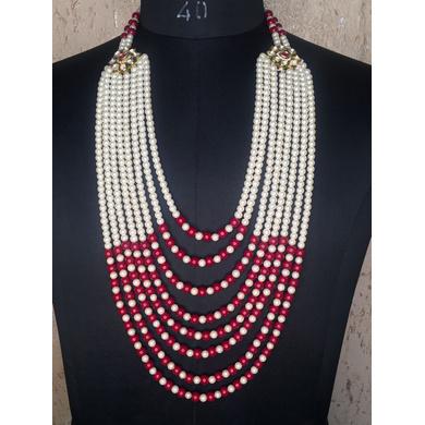 S H A H I T A J Designer Mala/Kanthla Red with White for Weddings/Groom Dress or Sherwani (OS933)-ST1053