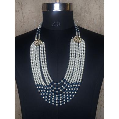 S H A H I T A J Designer Mala/Kanthla Blue with White for Weddings/Groom Dress or Sherwani (OS934)-ST1054