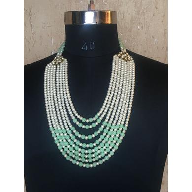 S H A H I T A J Designer Mala/Kanthla Light Green with White for Weddings/Groom Dress or Sherwani (OS935)-ST1055